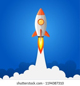 Rocket launch, ship. Vector illustration concept of business.