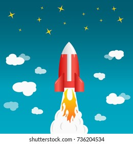 Rocket launch ship vector illustration concept of business product on a market