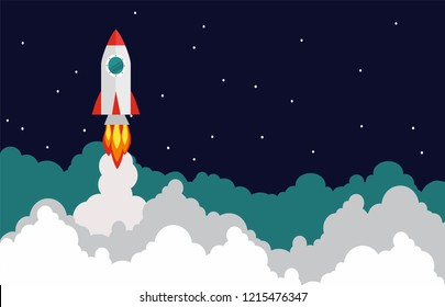 Rocket launch, ship.vector, concept of an illustration of a business product on the market startup