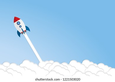 Rocket launch, ship.vector illustration concept of new business project start-up development and launch a new innovation product on a market.