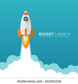 Rocket launch, ship.vector illustration concept of business.