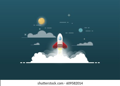 Rocket launch and smoke. Startup project vector illustration. Cosmos view. Sky with clouds, planets and stars. Thin line flat style banner. Glowing fire. Web product or business start up concept
