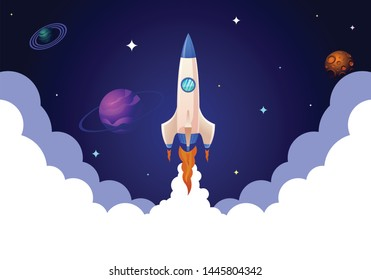 Rocket launch in space and smoke. Vector illustration