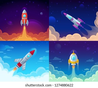 Rocket launch. Space travel, galaxy rocketship and business plan success start. Rocketship booster flight technology, galaxy cosmos spaceship vector cartoon concept illustration