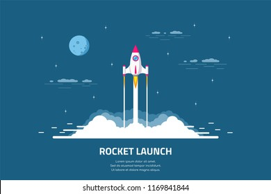 Rocket launch, spaceship. Flat style concept banner of business startup.