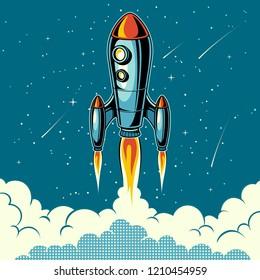 Rocket launch with stars on background. Vintage poster. Pop art vector illustration.
