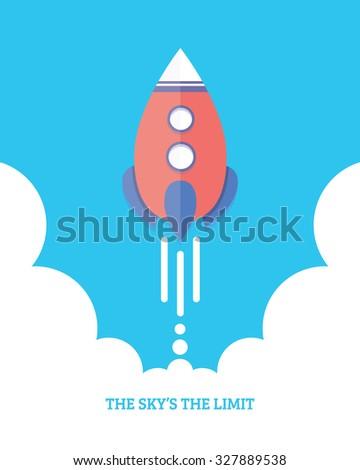 Rocket Launch Startup Inspiration Concept Flat Design Illustration