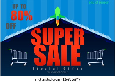 rocket launch super sale up to 80% end of season special offer dark blue tone vector illustration eps10