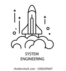 Rocket launch and system engineering isolated outline icon vector. Draft or sketch, spaceship start, construction and space technologies emblem or logo. Internal mechanism project or plan, science