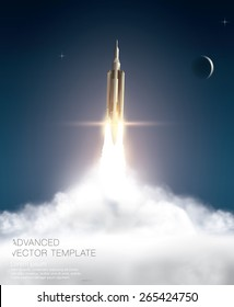 Rocket launch take off. Vector template