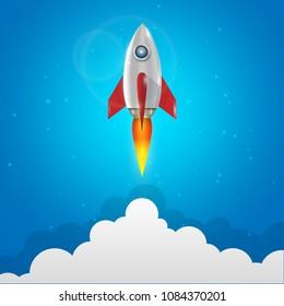 rocket  launch vector illustration.