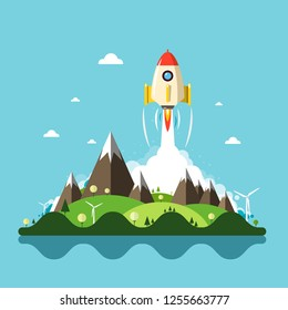 Rocket Launch with Vector Landscape on Background