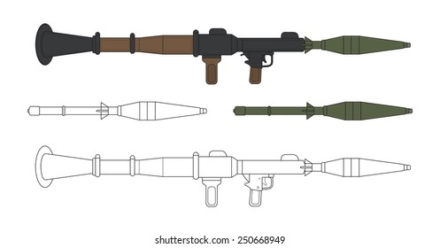 Rocket launcher with missiles. Game resources. Vector color and contour clip art illustration isolated on white