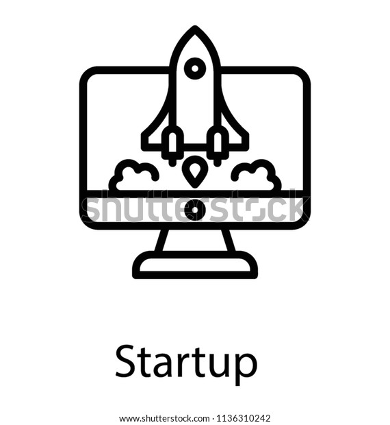 Rocket Launcher Ready Depart Computer Screen Stock Vector (Royalty