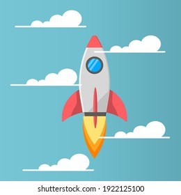 Rocket Launcher Spaceship Start-Up Innovation Icon, Logo, and illustration Vector