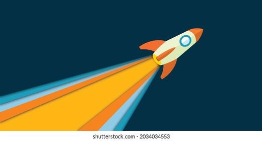 Rocket launcher start up business.Flat stylized flying rocket.