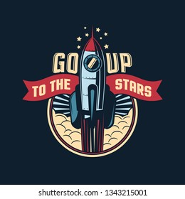 The rocket launches into space badge emblem in retro style. vector illustration