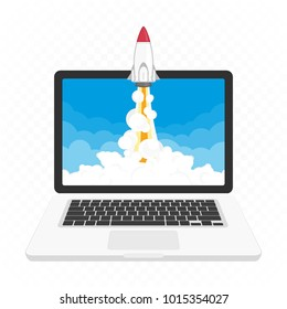 Rocket launching on laptop isolated on transparent background. Successful startup business concept. Ecommerce start up or new Business project. Vector illustration in flat style. EPS 10.