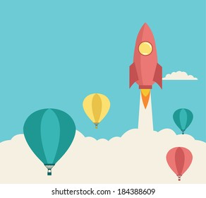 rocket launching over the hot air balloons. Business competition concept.  Vector