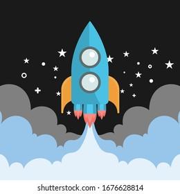 Raketenstart, ship.Vektorillustration, Illustrationskonzept für Business-Produkte auf einem Markt.