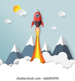 Rocket launch.With start up business concept paper art style.Vector illustration.