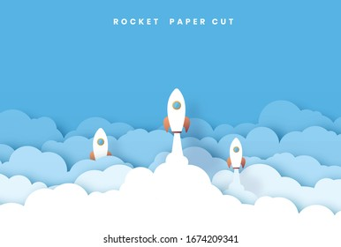 Rocket Leadership Concept with Paper Art or Origami Design Vector. paper cut style. illustration White paper startup rocket concept