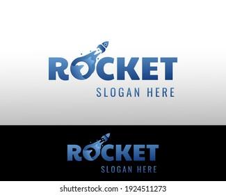 rocket logo creative logo blue rocket vecktor design