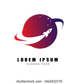 rocket logo design template. rocket logo design template. rocket around the planet vector illustration