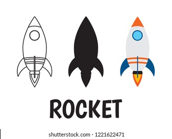 rocket logo icon set on white background