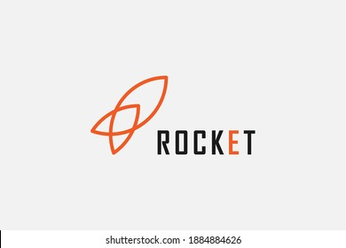 Rocket Logo. Simple Rocket Line Icon isolated on Grey Background. Usable for Business and Technology Logos. Flat Vector Logo Design Template Element.
