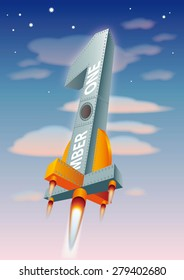 rocket with number one shape as symbol of leadership