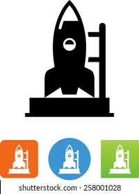 Rocket on a launch pad icon