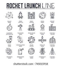 Rocket outline icons collection set. Industry linear symbol pack. Modern template of thin line icons, logo, symbols, pictogram and flat illustrations concept