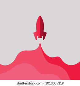 Rocket Paper Art red Vector and illustration flying rocket.Space travel to the moon.Space rocket launch.Project start up Solar System and text space