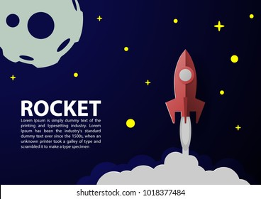 Rocket Paper Art Vector and illustration flying rocket.Space travel to the moon.Space rocket launch.Project start up Solar System and text space