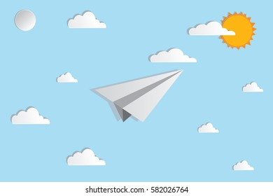 rocket paper moving on the blue sky in illustration background.