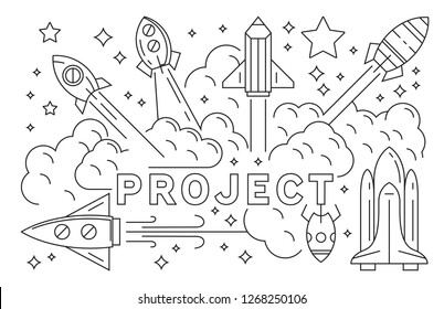 Rocket And Project Illustration. Launching Startup Business Line Art Design