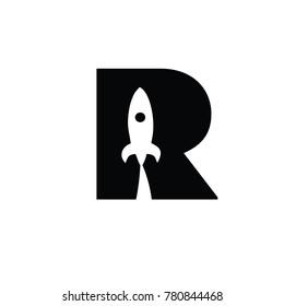 rocket r font logo flat vector logo template