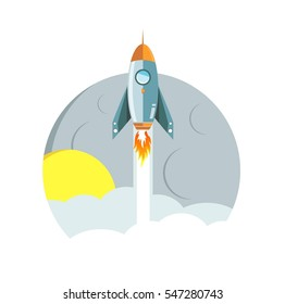 Rocket ride to the moon at night concept illustration design graphic over white
