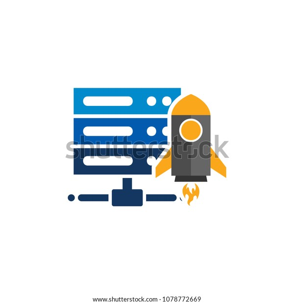 Rocket Server Logo Icon Design Stock Vector (Royalty Free
