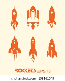 Rocket set vector EPS 10