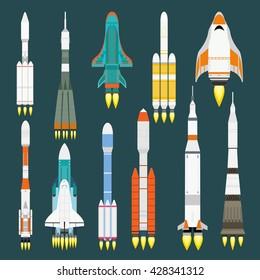 Rocket set vector and technology ship rocket cartoon design