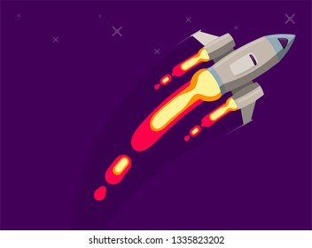 Rocket ship in a flat style. Space rocket launch with trendy flat style smoke clouds. Project start up and development process.Innovation product, creative idea. Management. Vector illustration. Flat