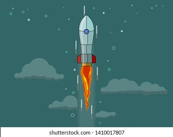 Rocket ship in a flat style. Space rocket launch with trendy flat style fluel. Project start up and development process.Innovation product, creative idea. Management. Vector illustration. Flat design.