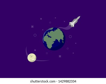 Rocket ship in a flat style. Space rocket launch with solar system. Project start up and development process.Innovation product, creative idea. Management. Vector illustration. Flat design.