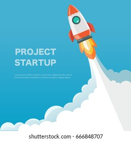 Rocket ship in a flat style. Space rocket launch. Project start up and development process.Innovation product,creative idea.Management. Vector illustration. Flat design.
