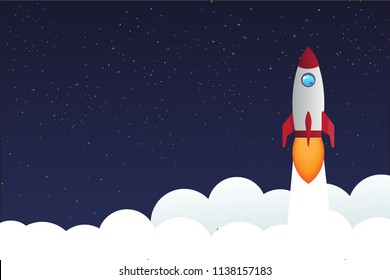 rocket ship in a flat style vector illustration on star sky night with copy space for business start up idea eps10 vector illustration