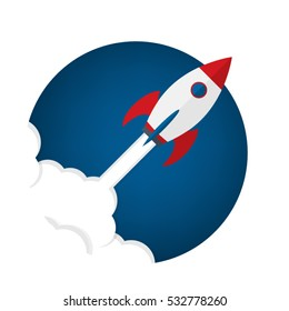 Rocket ship in a flat style.Vector illustration.