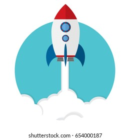 Rocket ship in a flat style.Vector illustration