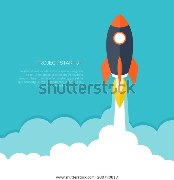 Rocket ship in a flat style.Vector illustration with 3d flying rocket.Space travel to the moon.Space rocket launch.Project start up and development process.Innovation product,creative idea.Management.